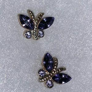 Purple &silver butterfly 🦋 earrings